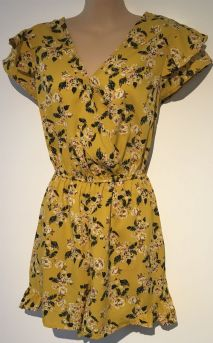 PRIMARK YELLOW FLORAL CROSS OVER PLAYSUIT SIZE UK 12